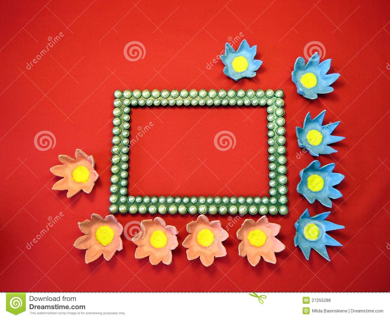 Frame And Flowers Made From Paper Stock Photo Image Of Beautiful