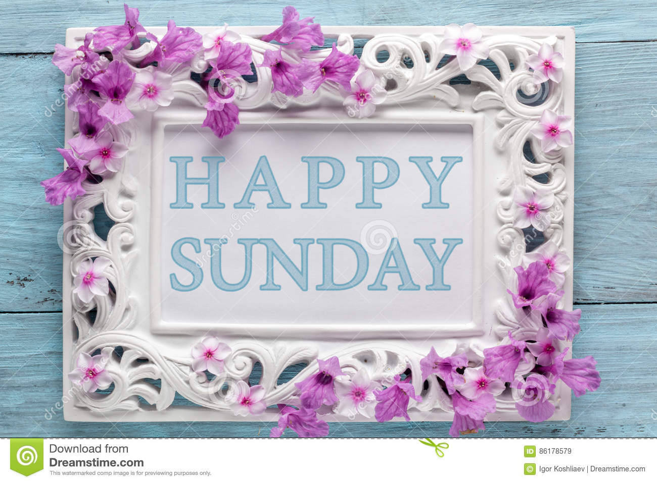 Frame With Flowers And Text Happy Sunday Stock Image Image Of
