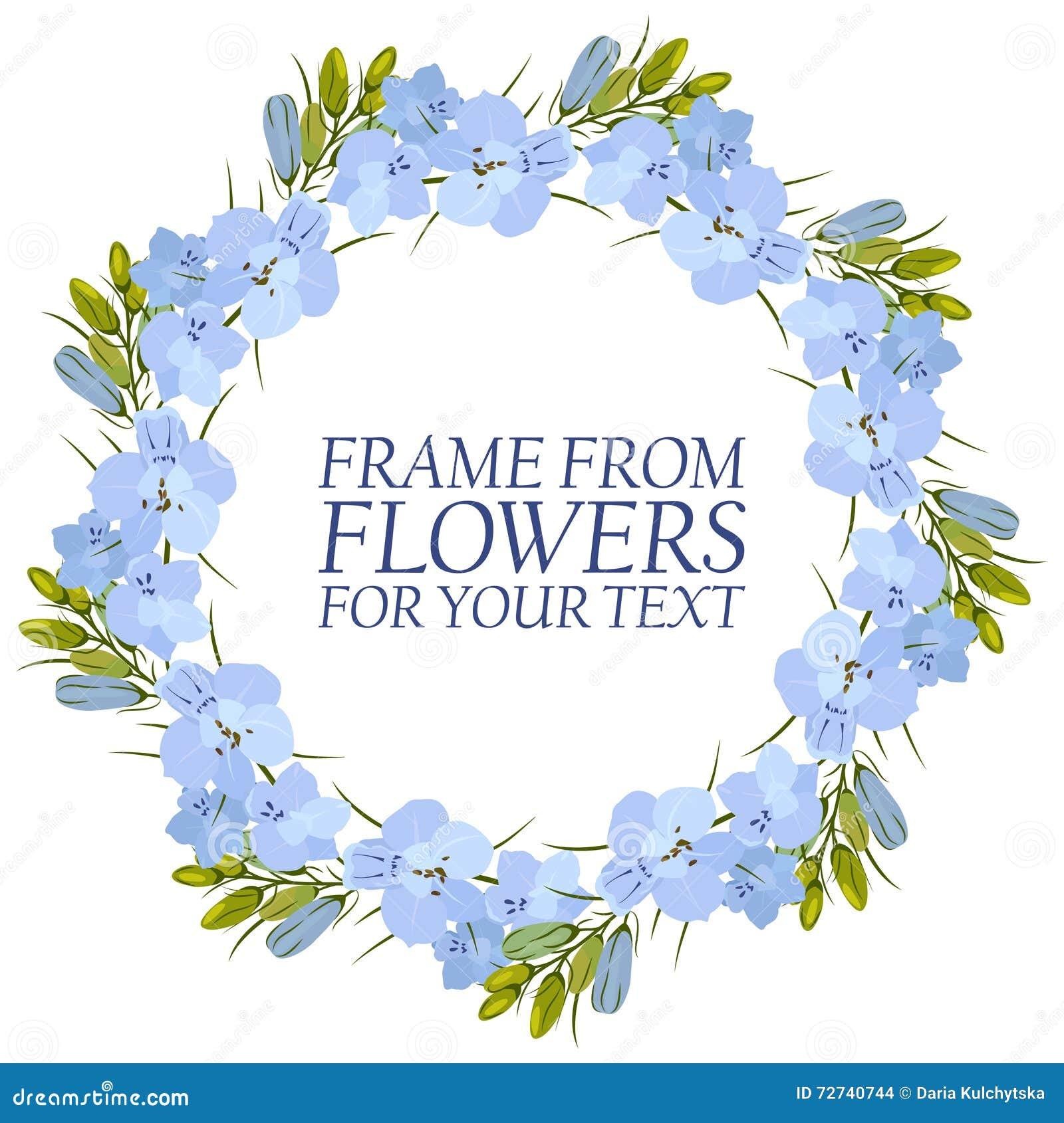 Frame of flowers for text light blue flowers delphinium stock download frame of flowers for text light blue flowers delphinium stock vector illustration of izmirmasajfo