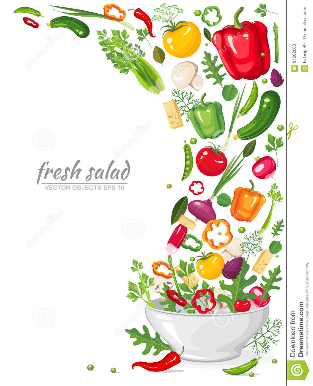 Frame of fresh, ripe, delicious vegetables in vegan salad isolated on white background. Healthy organic food in a plate