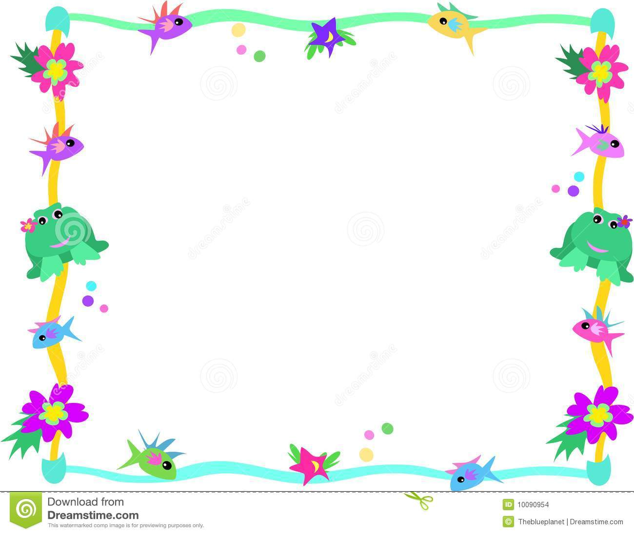 Frame of frog fish flowers and stars stock vector for Fish photo frame