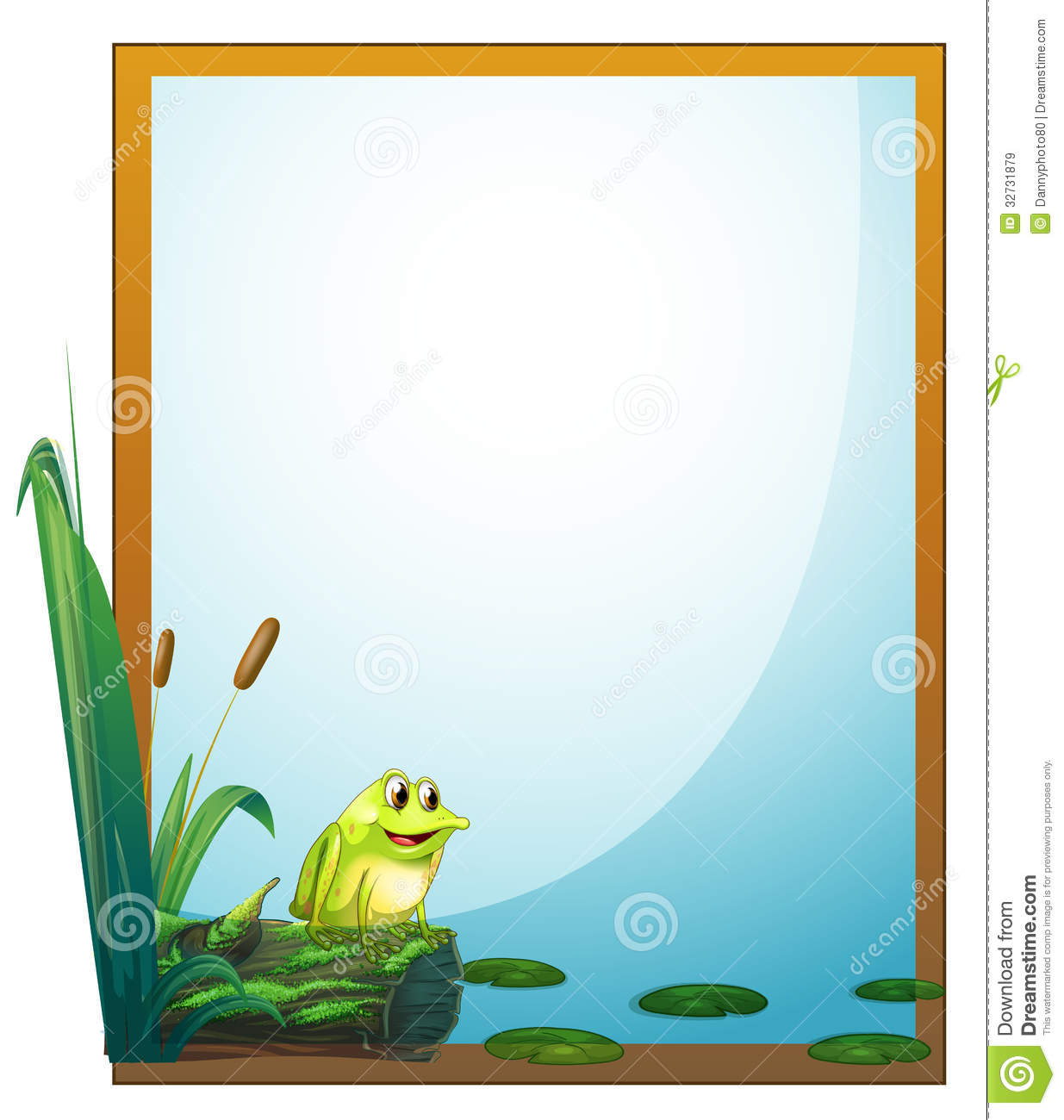 A Frame With A Frog In The Pond Royalty Free Stock Images - Image: 32731879