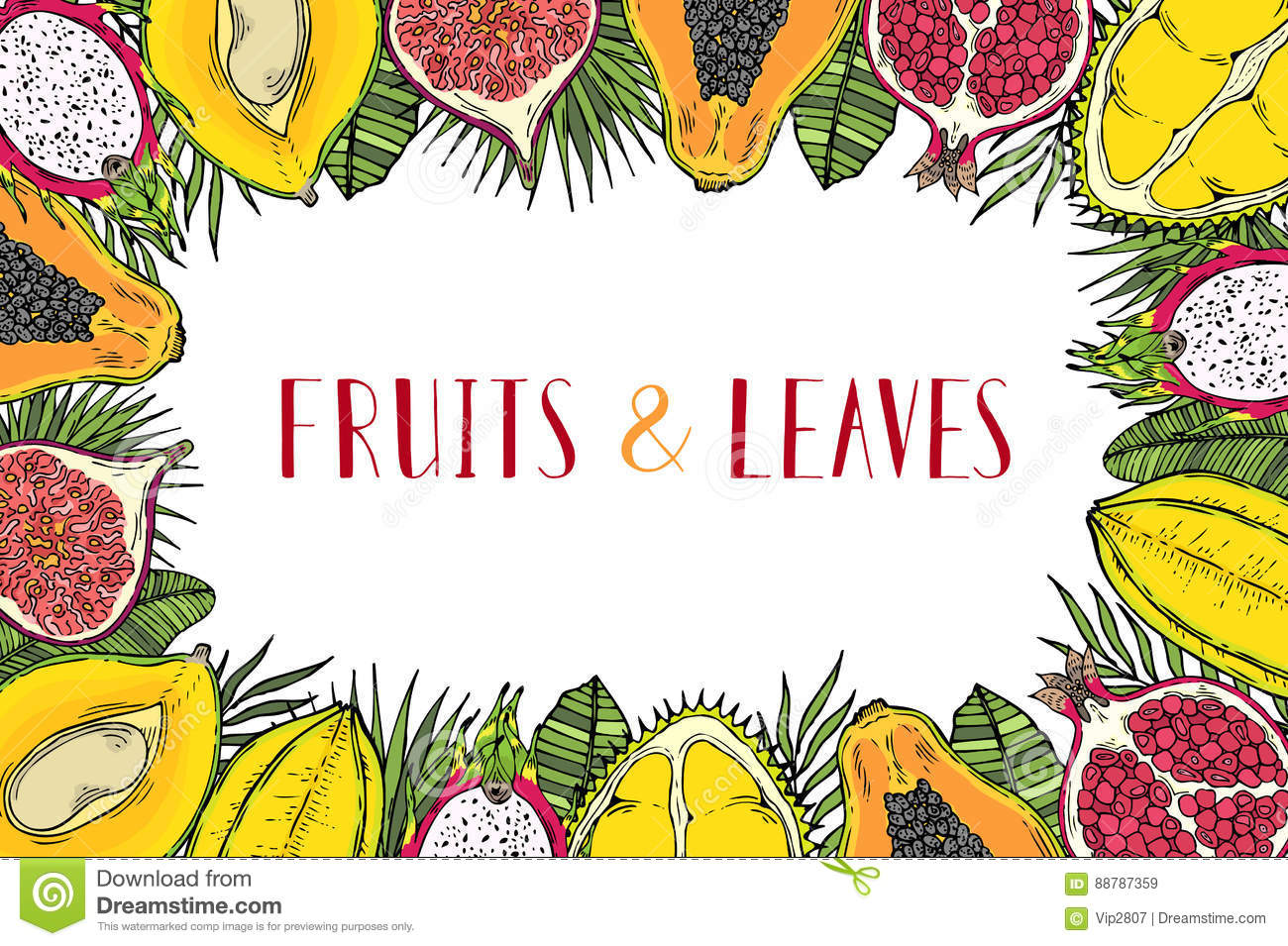 frame of fruits and tropical leaves with the words healthy food