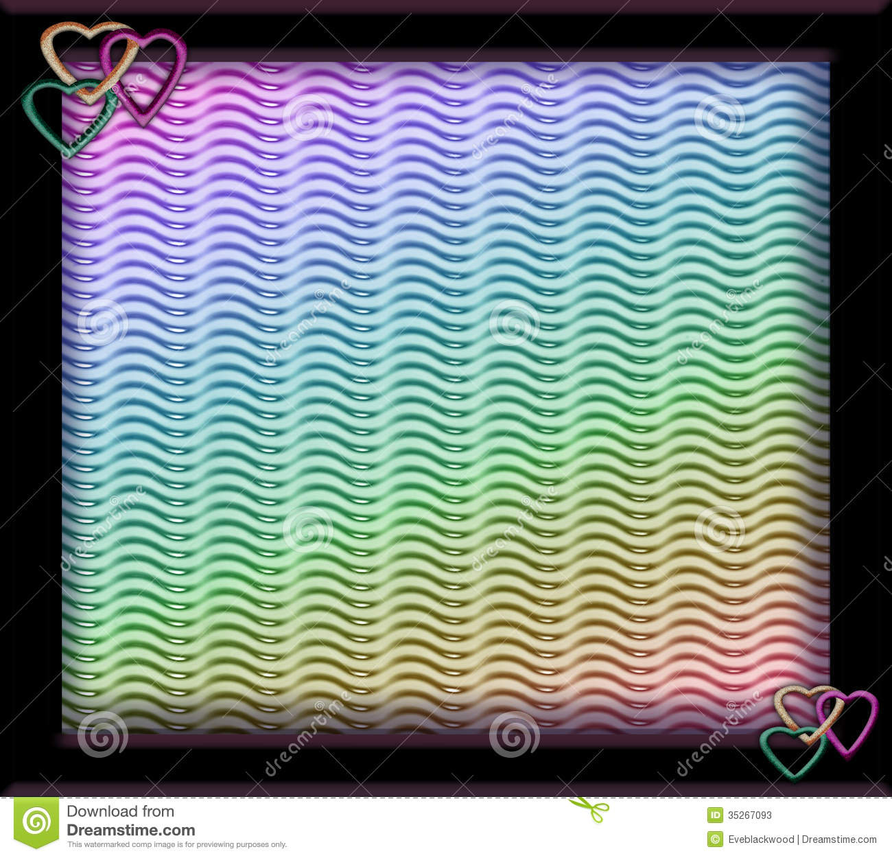 Frame With Glittered Hearts And Rainbow Background Stock