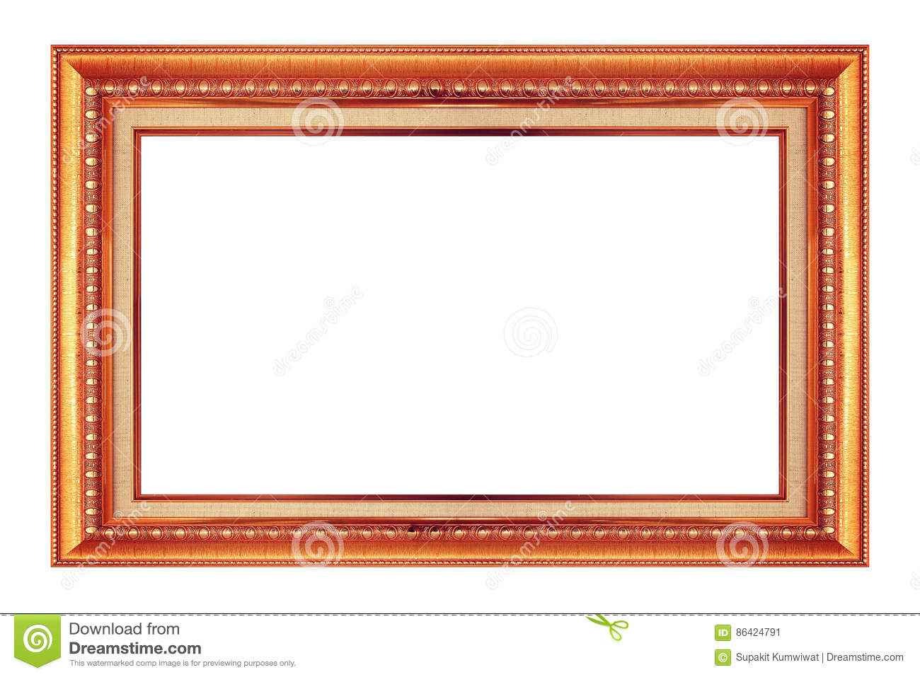 Frame gold and copper vintage isolated background.