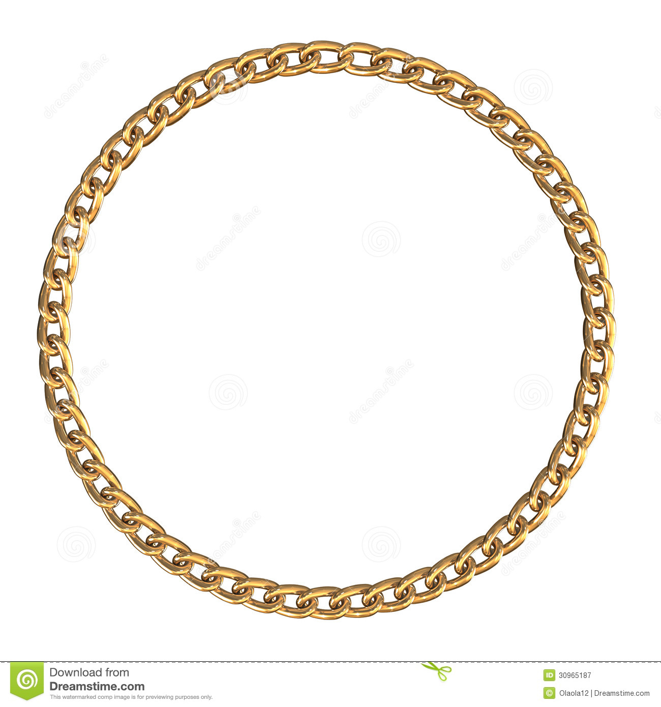 round frame made with golden chain on white background