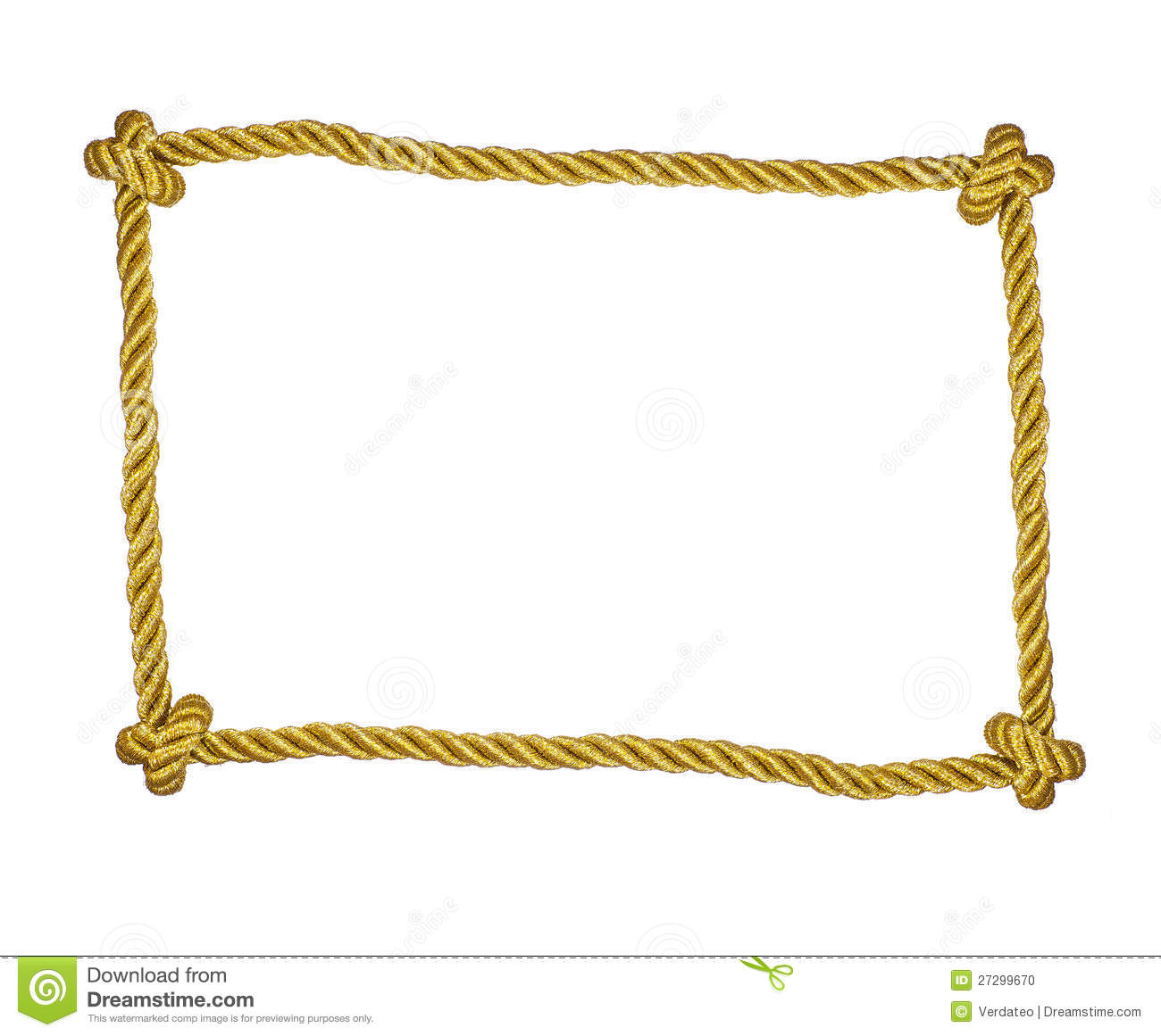 Frame of golden rope isolated stock photo image 27299670 Rope photo frame