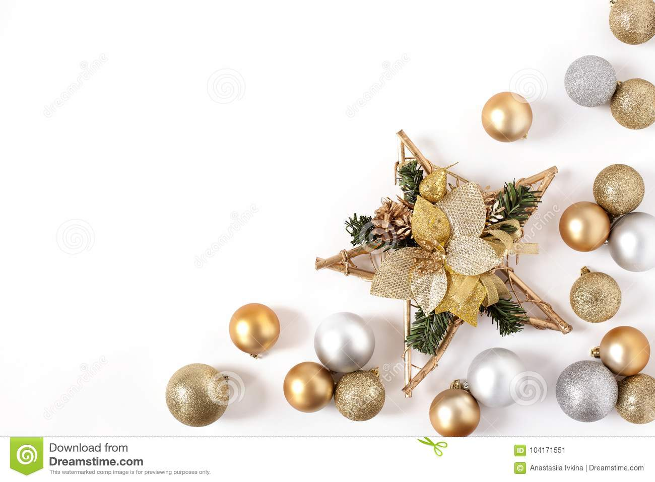fa4b192c91db Frame Golden and Silver Balls, Christmas star Top view White Background  Christmas New Year. More similar stock images