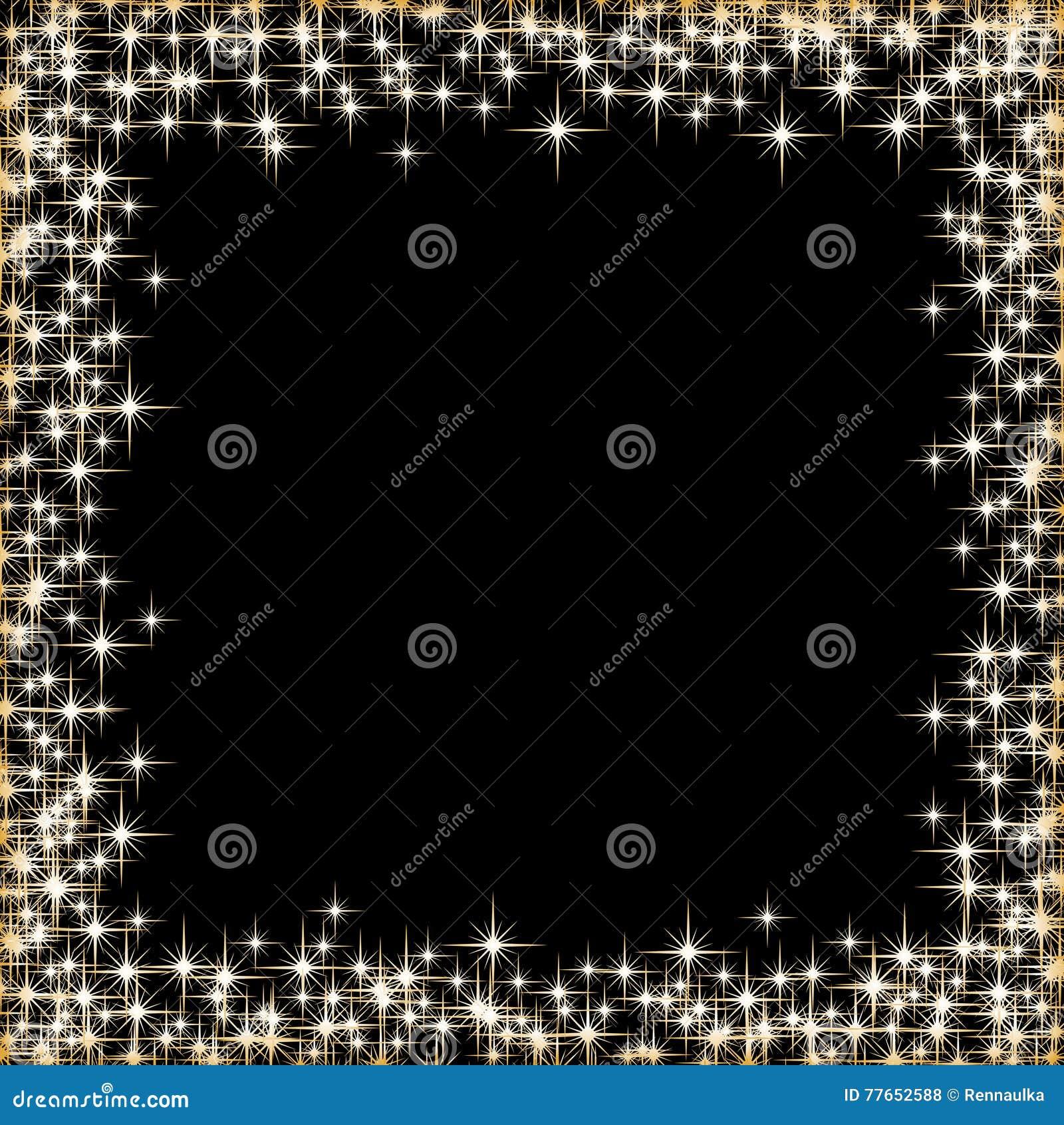 Frame With Golden Stars On The Black Background Sparkles Golden