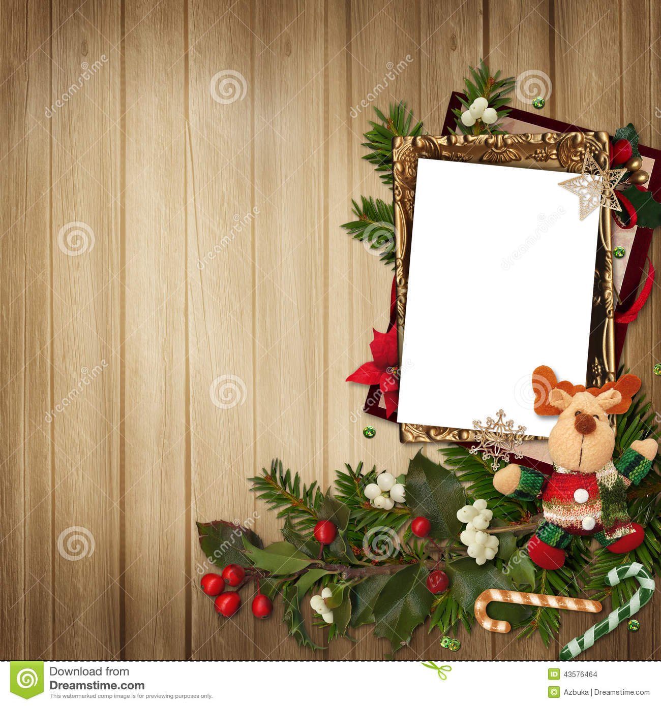 Frame With Gorgeous Christmas Decorations On Wooden