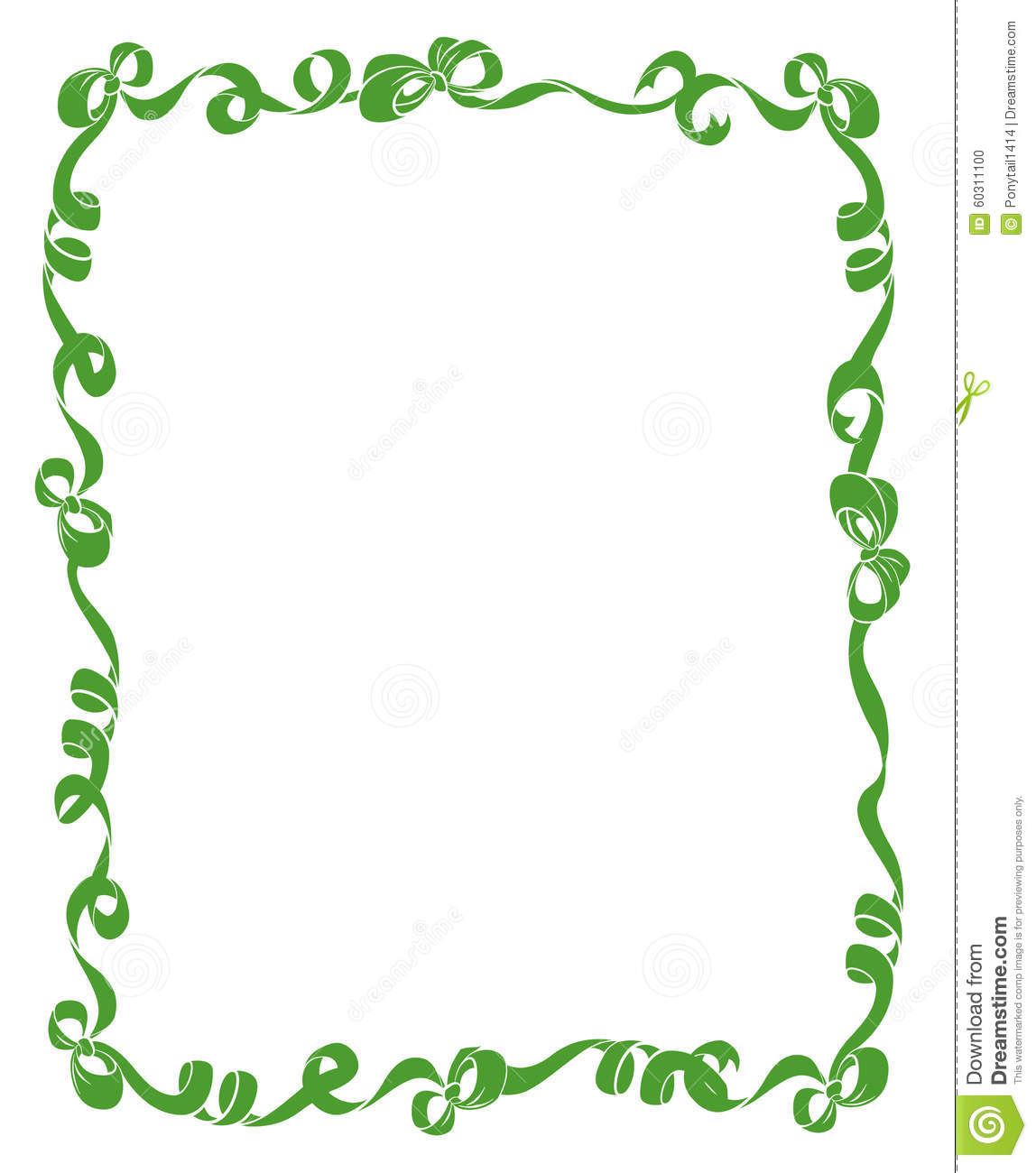 Frame Of Green Ribbons And Bows Stock Illustration - Illustration of ...