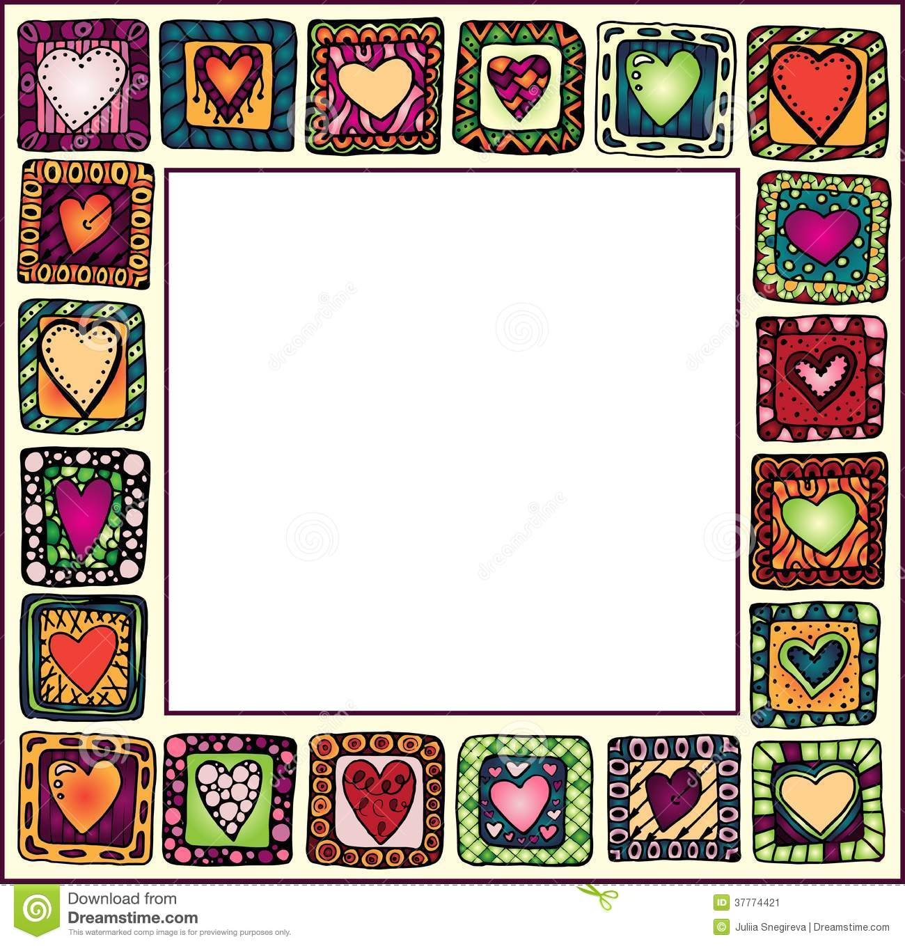 Frame With Hand-drawn Hearts In Doodle Frames. Stock Image - Image ...