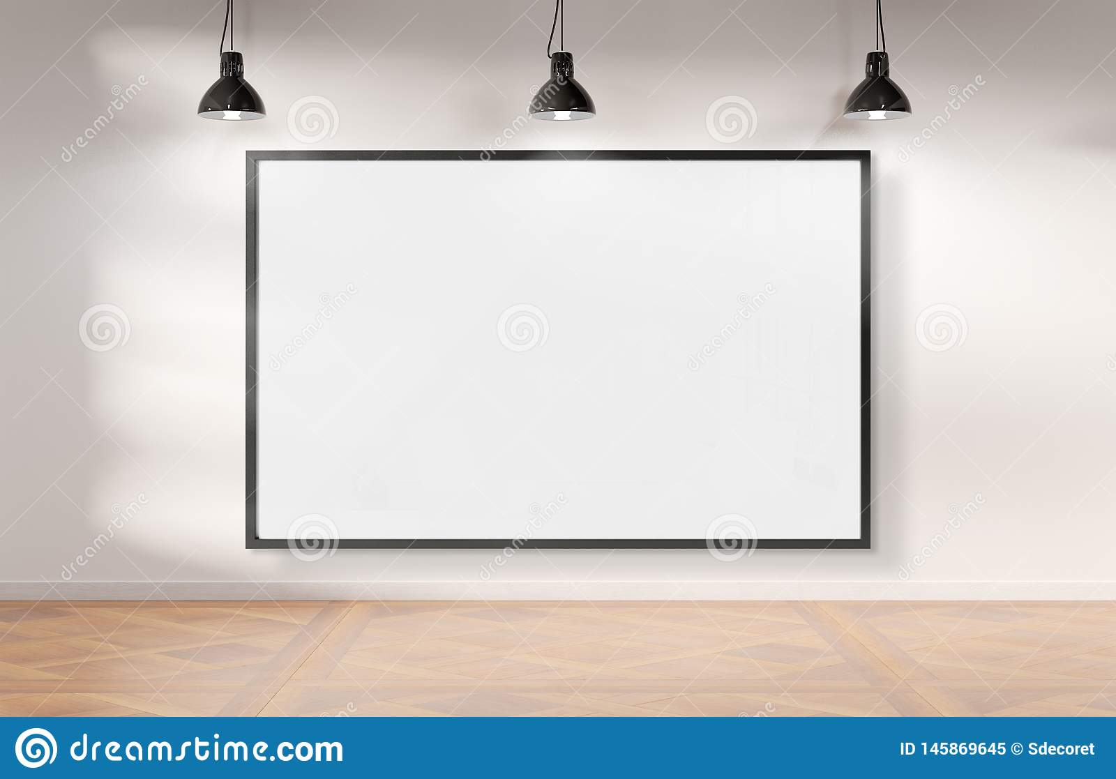 Frame hanging bright white museum with wooden floor mockup 3D rendering
