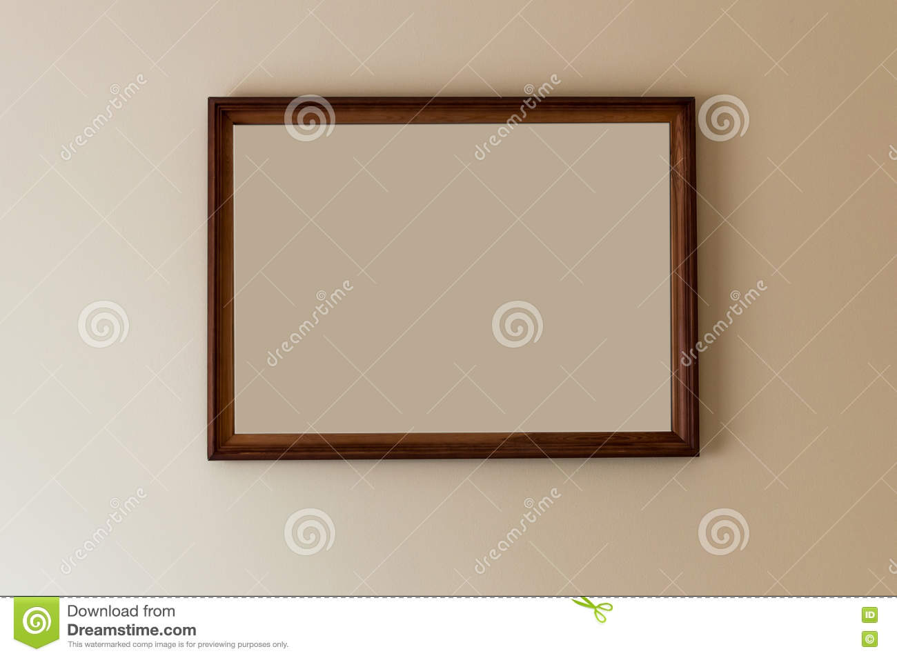 Frame hanging on a wall with empty space to write your text