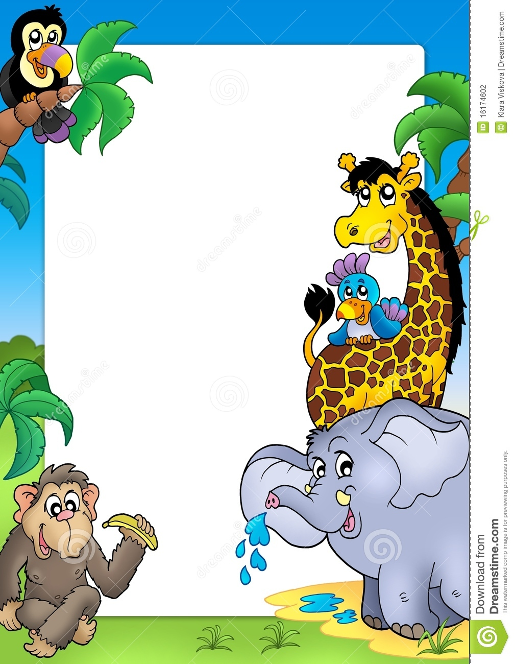 Frame With Happy African Animals Stock Illustration
