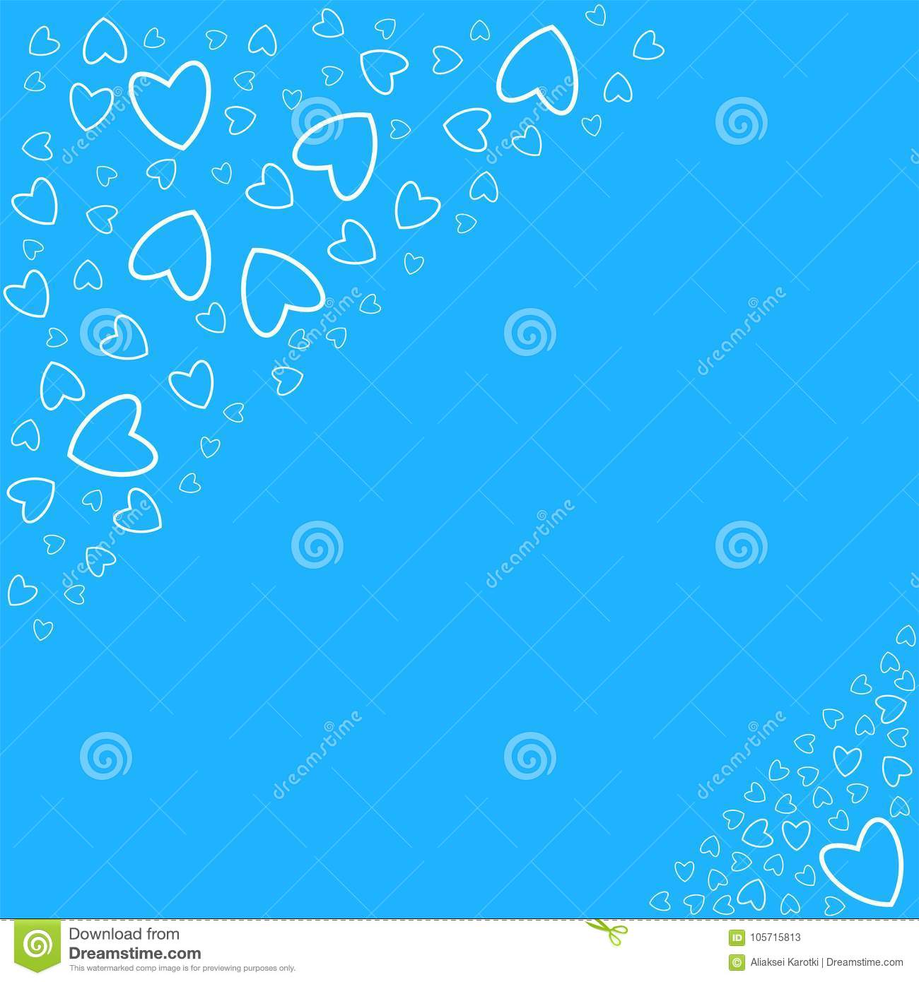Wedding Po Frame | Frame Of Hearts On A Blue Background Prints Greeting Cards