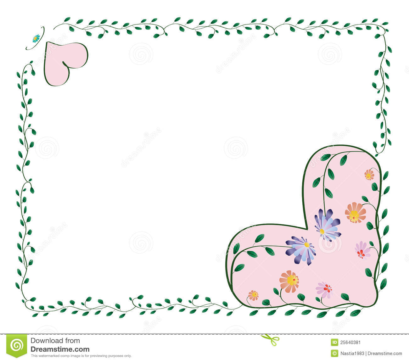 Frame With Hearts And Color Flowers Stock Vector - Illustration of ...