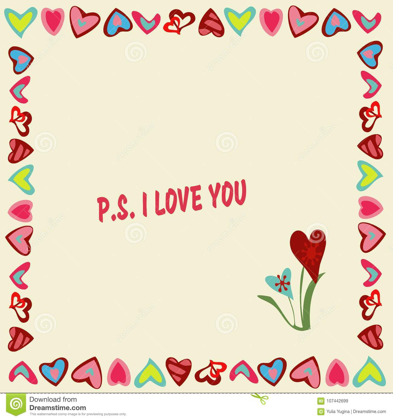 Frame Of Hearts On A Yellow Background With Text P.S. I Love You ...