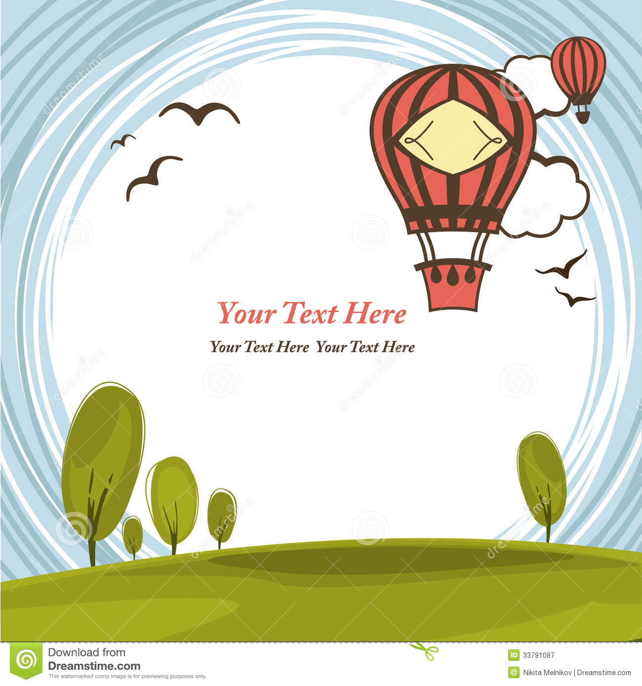 Frame With Hot Air Balloon Stock Vector Illustration Of Background