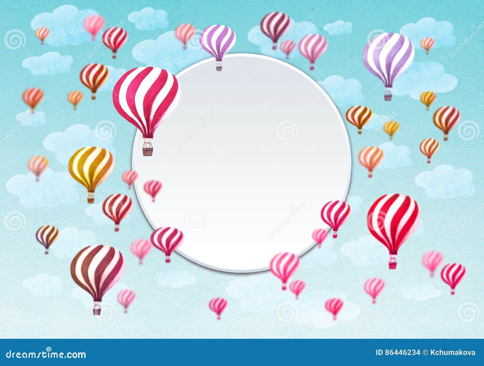 Frame Of Hot Air Balloons Stock Illustration Illustration Of