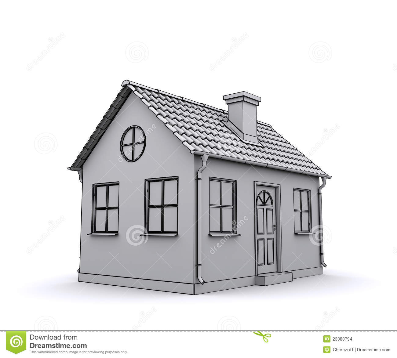 Frame house 3d model of a white stock images image 23888794 - Comment fonctionne une maison domotique ...