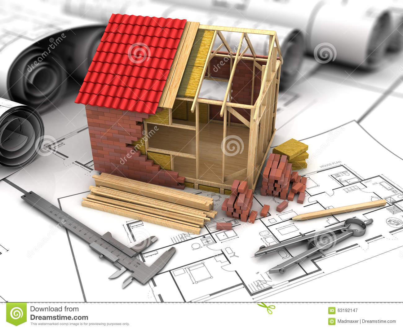 Frame house building stock illustration illustration of blueprint 3d illustration of frame house model and blueprints ccuart Image collections