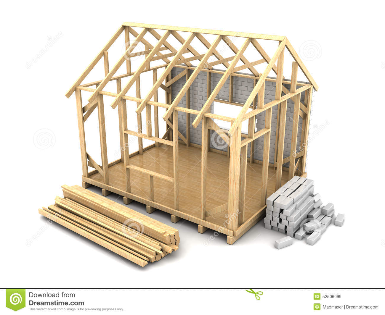 Frame house construction stock illustration illustration for What is a frame home