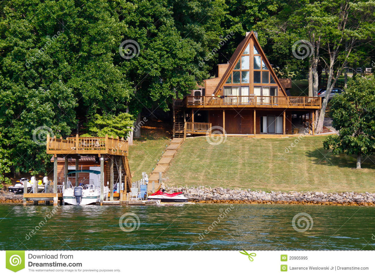 a frame house on water with boats stock image image