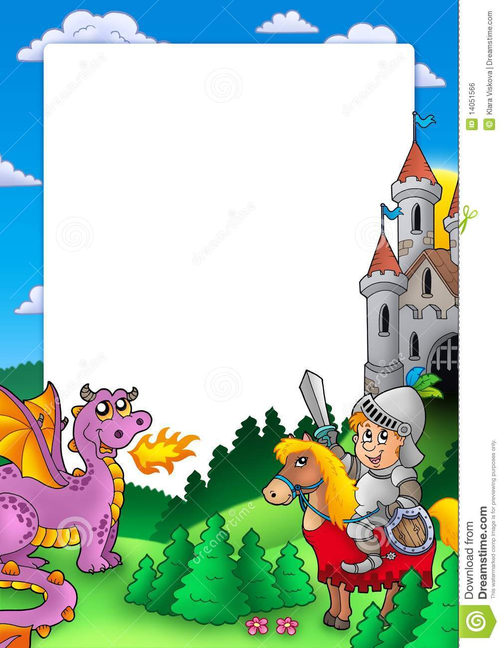 Frame With Knight And Dragon Stock Illustration - Illustration of ...