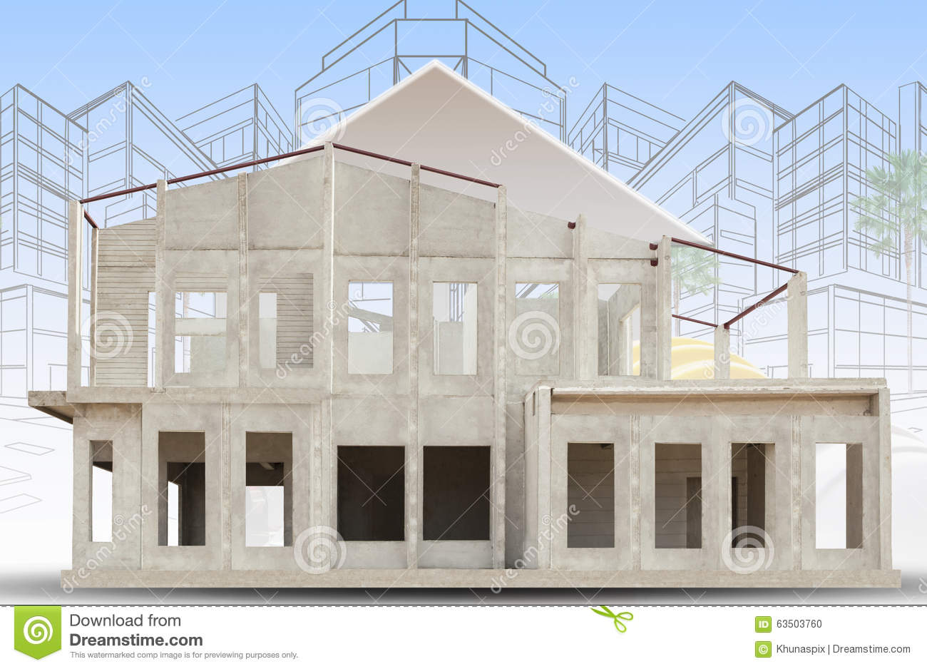 Background Property Developments : Frame of knock down house isolated white background use