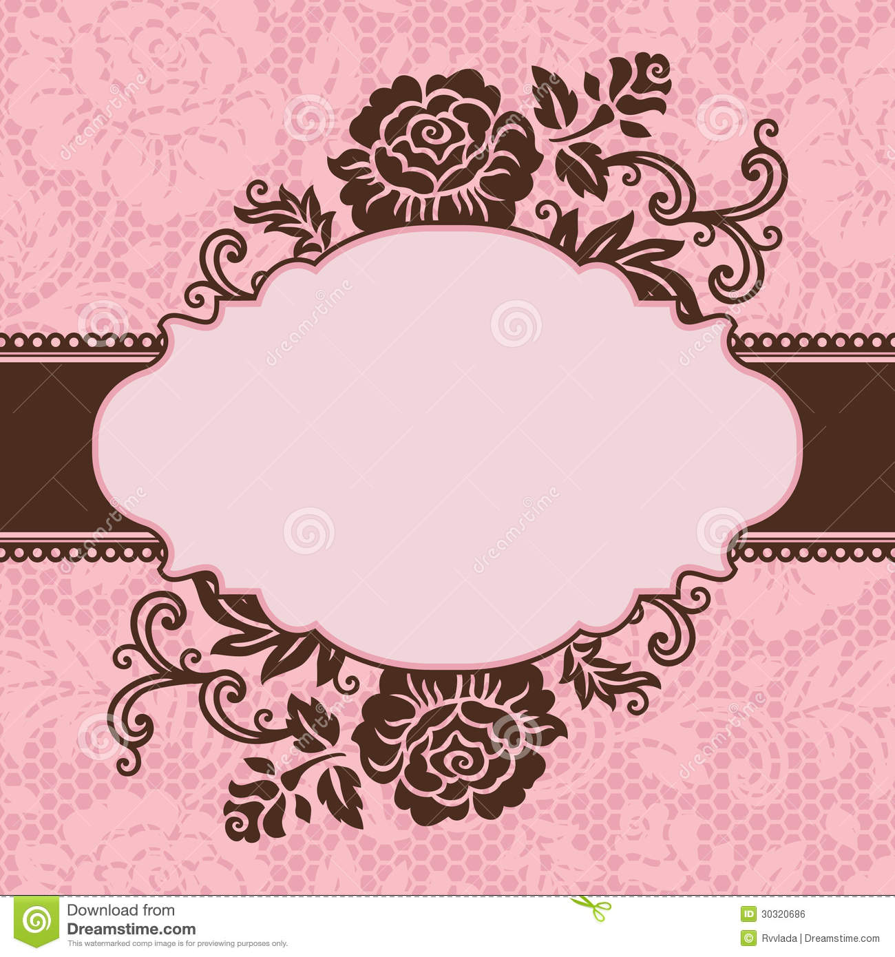 Frame With Lace Flowers Stock Vector Illustration Of