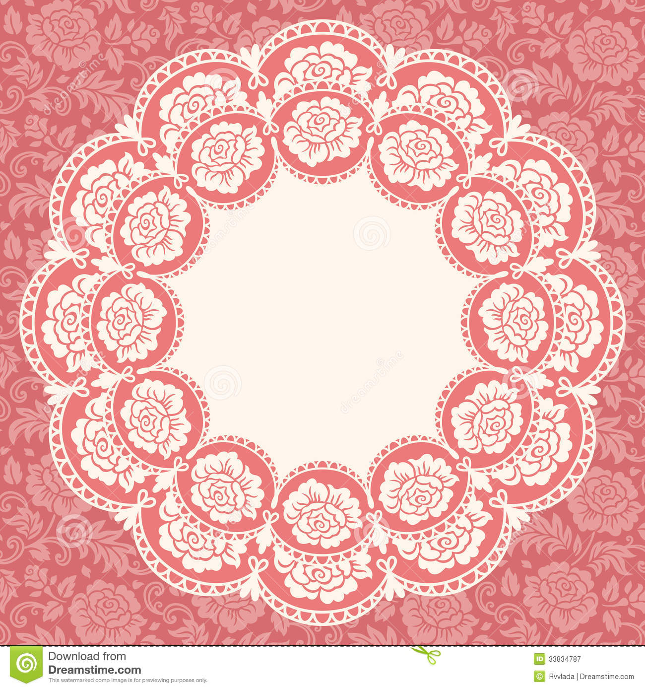 Frame With Lace Flowers Stock Vector Illustration Of Floral 33834787