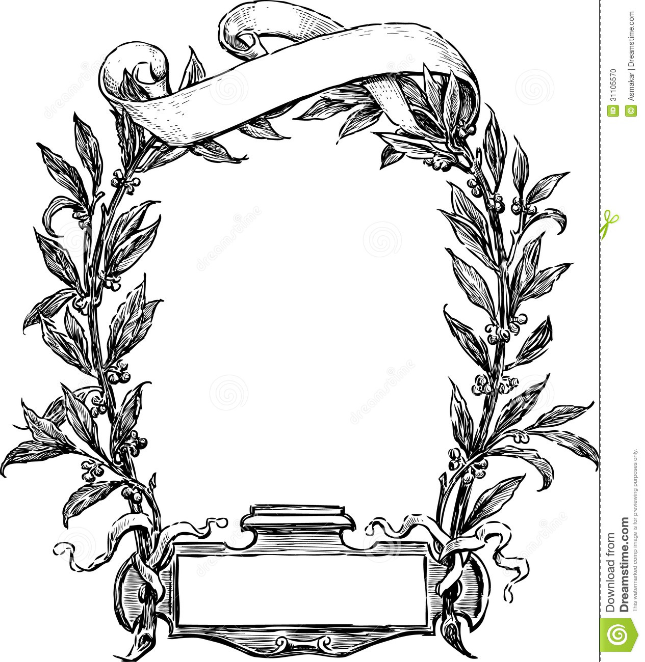 Frame Design Line Art : Frame of laurel and ribbon stock vector illustration