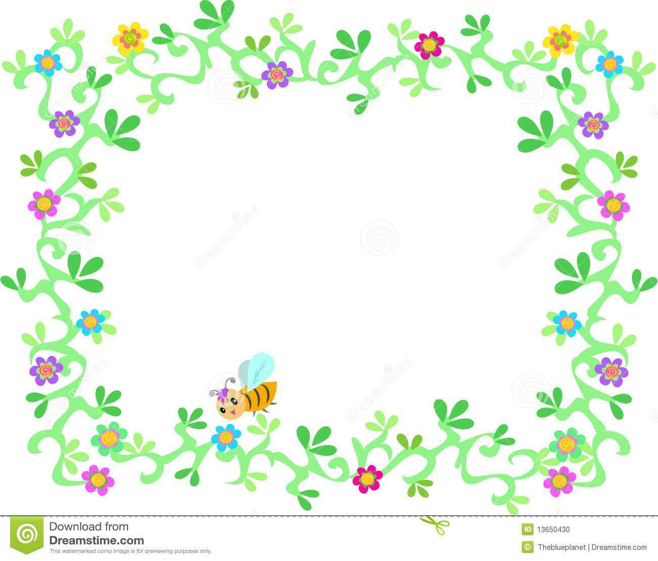 frame of lush garden vines  flowers  and bee stock photo Vintage Vine Border Clip Art Vintage Floral Vector Clip Art