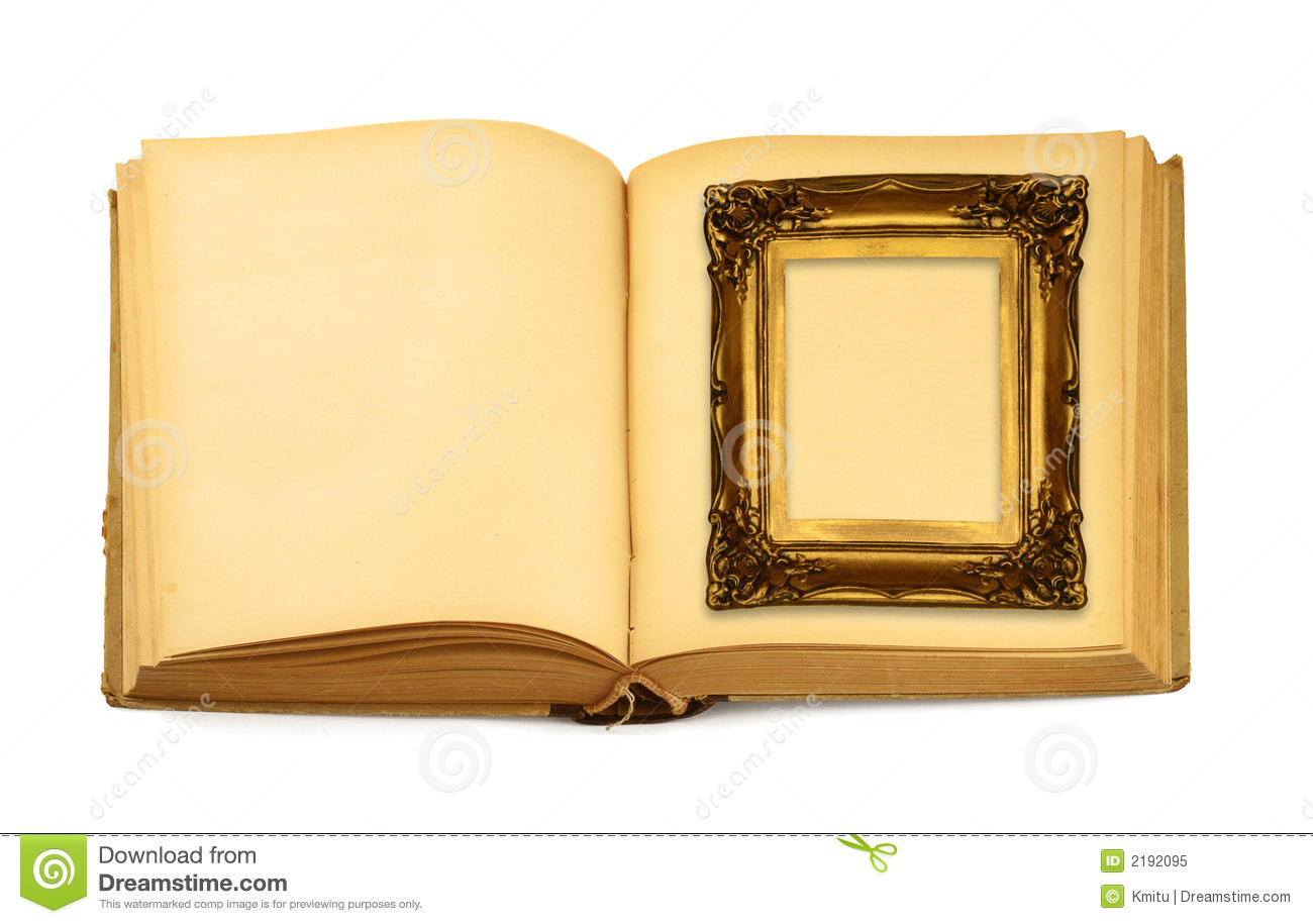 Frame lying on open book stock image. Image of decoration - 2192095