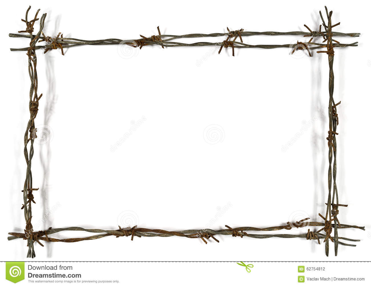 Frame Made Of Barbed Wire Stock Photo - Image: 62754812