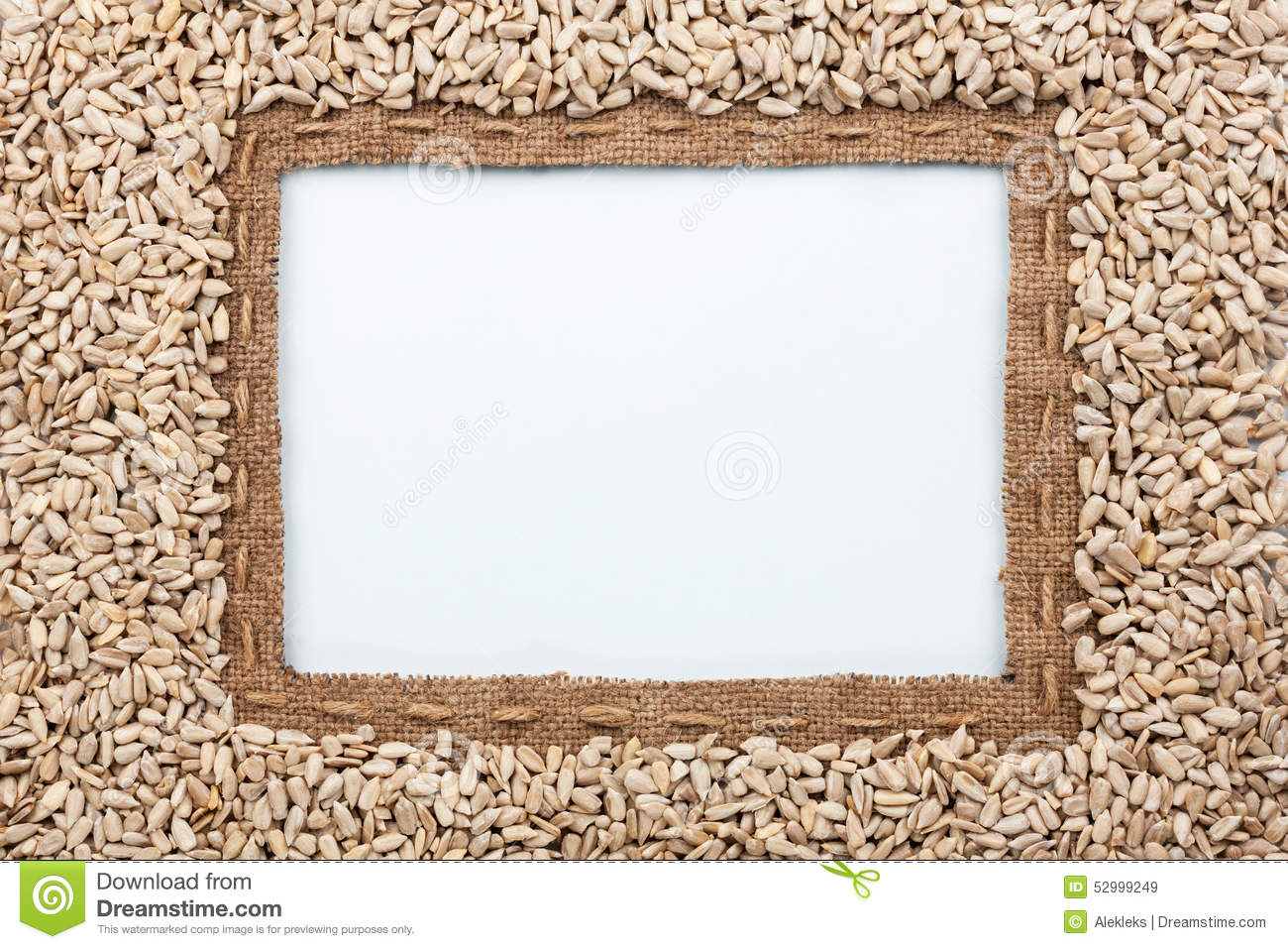 Frame Made Of Burlap With The Line And Sunflower Seeds Lies Whit ...
