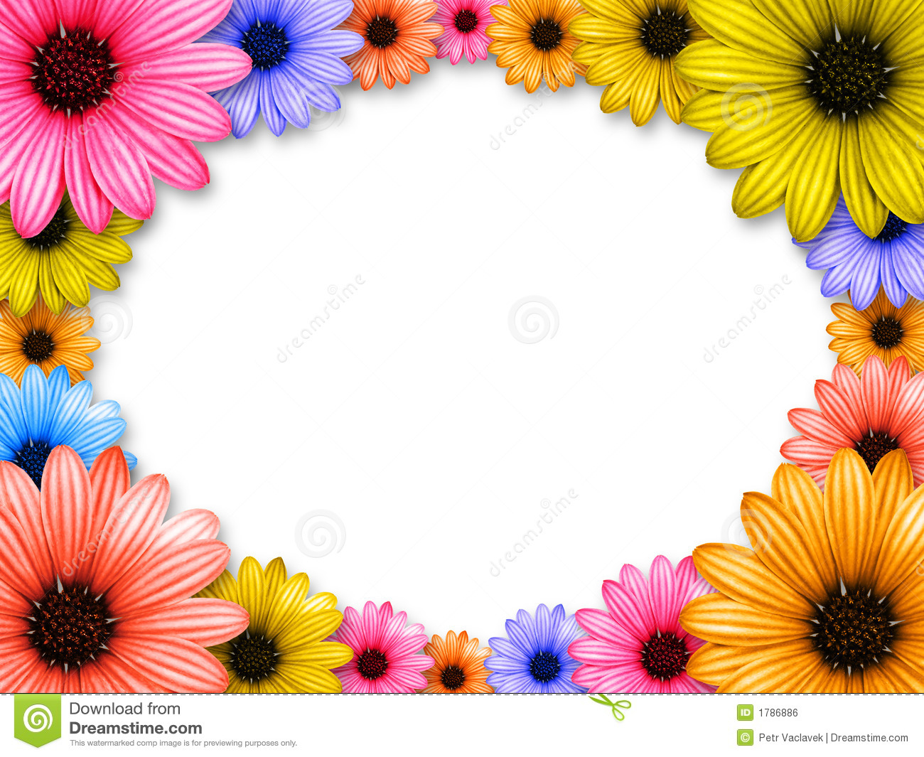 Frame Made From Colored Flowers Stock Illustration - Illustration of ...
