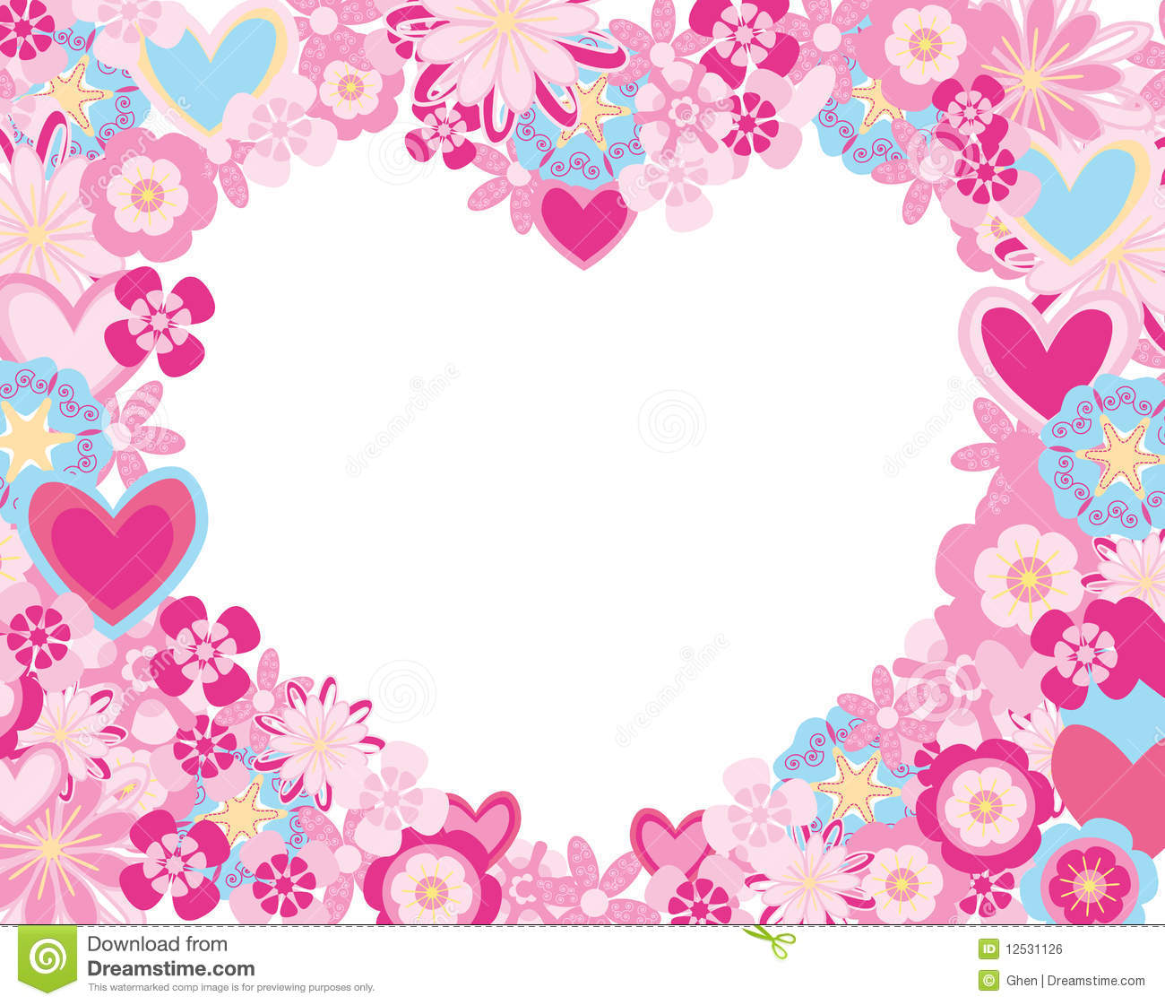 Frame Made Flowers And Hearts Royalty Free Stock Image Image