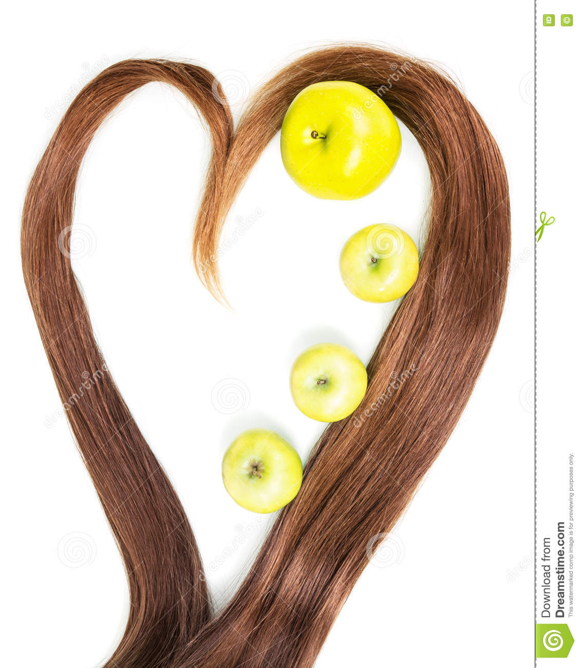 Frame Made From Strands Of Hair In The Shape Heart With Apple Inside ...