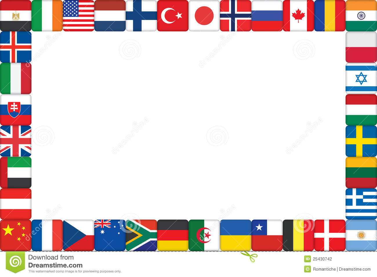 Frame Made Of World Flag Icons Stock Vector Image 25430742