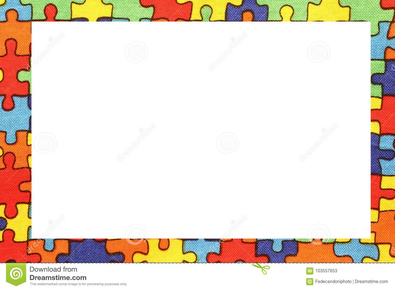 Frame Of Colorful Puzzle Pieces On Cotton Dyed Fabric Stock Image ...