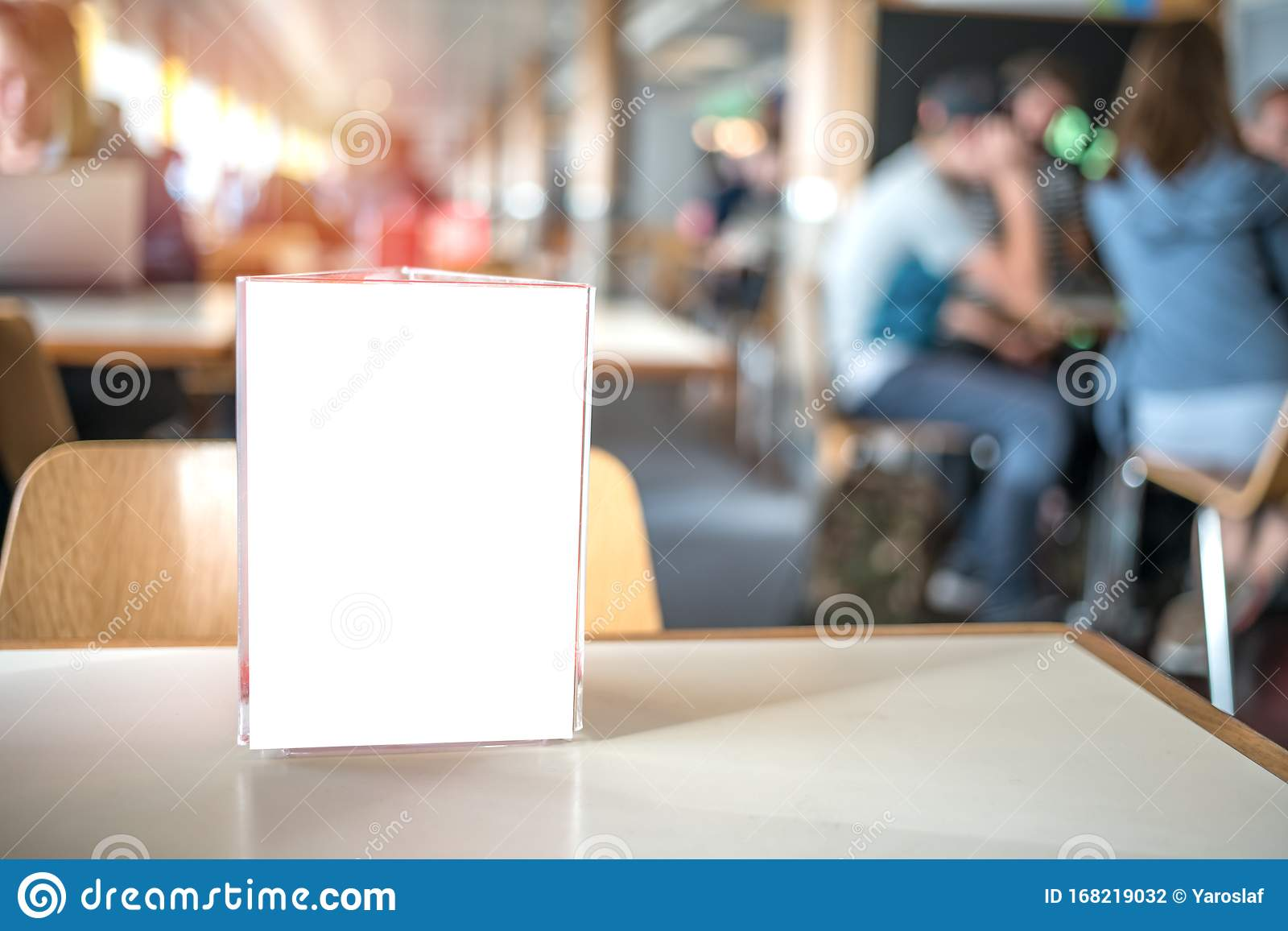Frame For Menu On Table Of Bar In Cafe Restaurant Stock Photo Image Of Information Print 168219032
