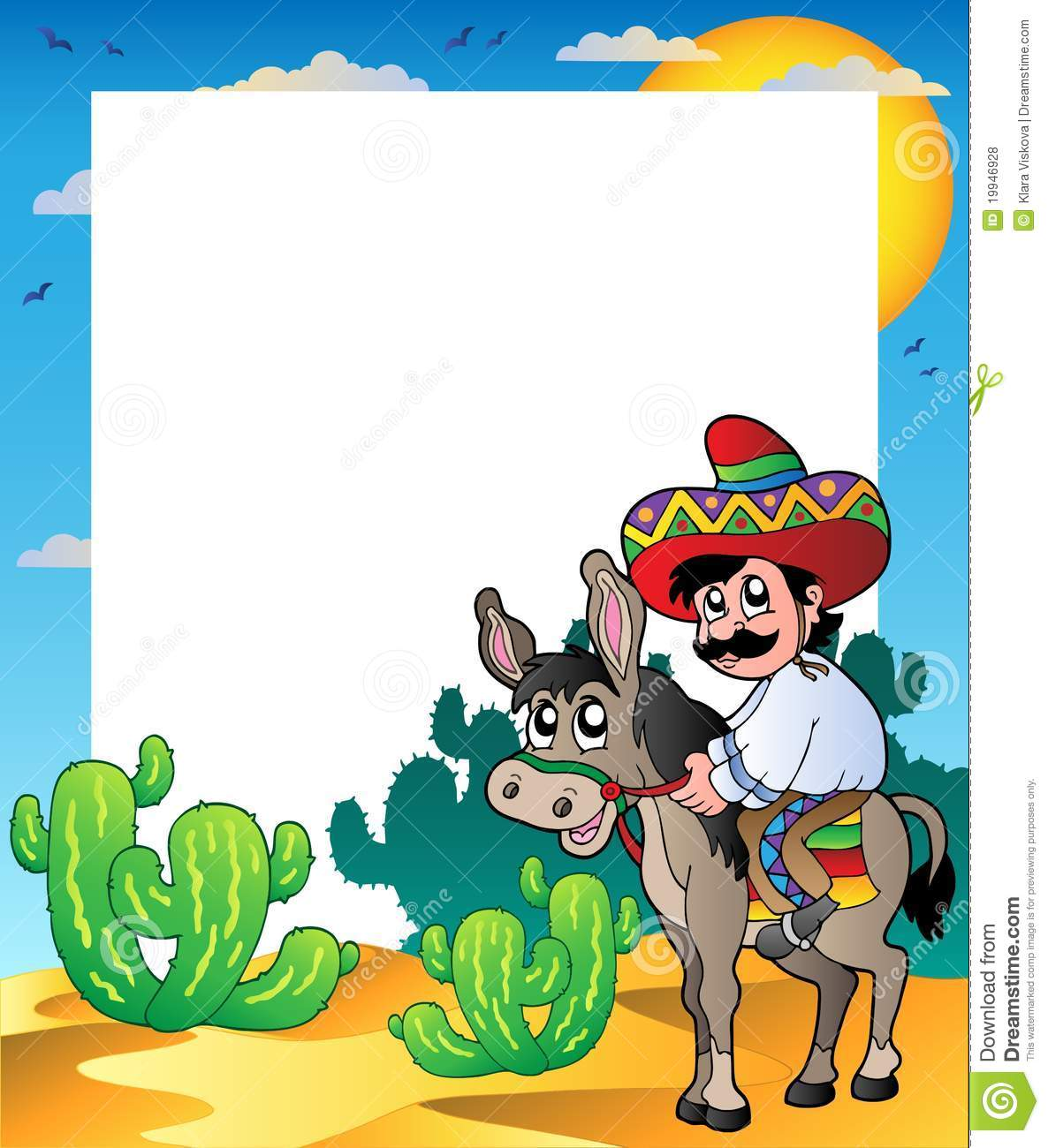 frame with mexican riding donkey - Mexican Frame