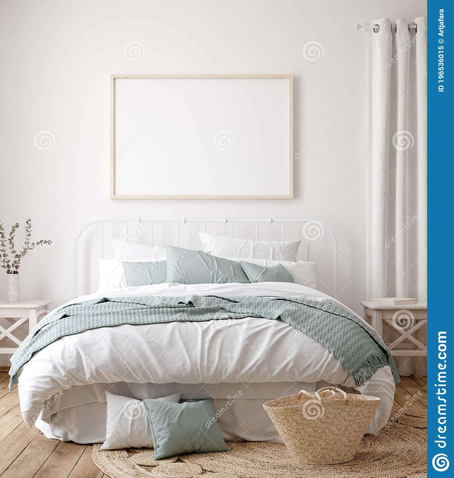 Frame Mock Up In Farmhouse Bedroom Interior Stock Illustration Illustration Of Decor Frame 196536015