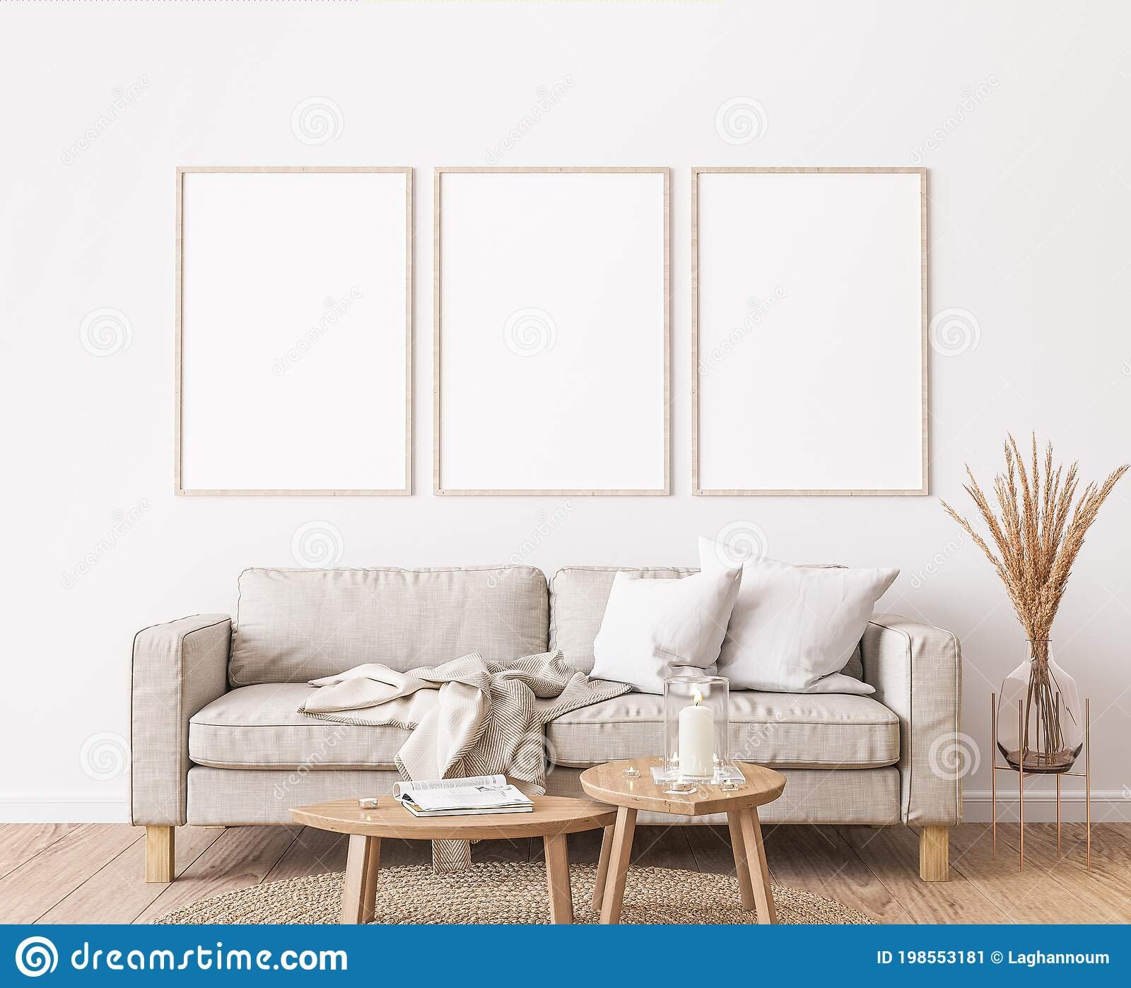Frame Mockup In Farmhouse Living Room Design White Furniture On Bright Wall Background Stock Image Image Of Blank Graphic 198553181