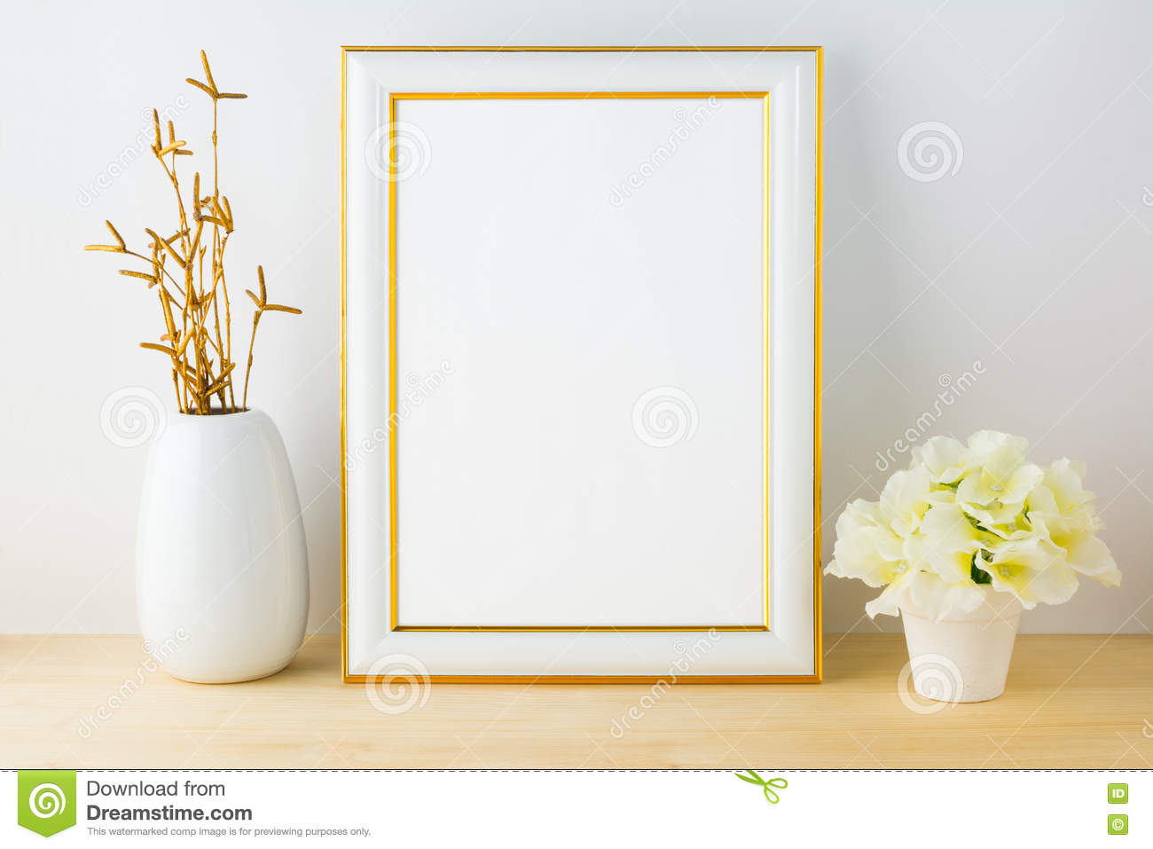 4a74c8b62ac2 Frame Mockup With White Flowerpot Stock Image - Image of design ...