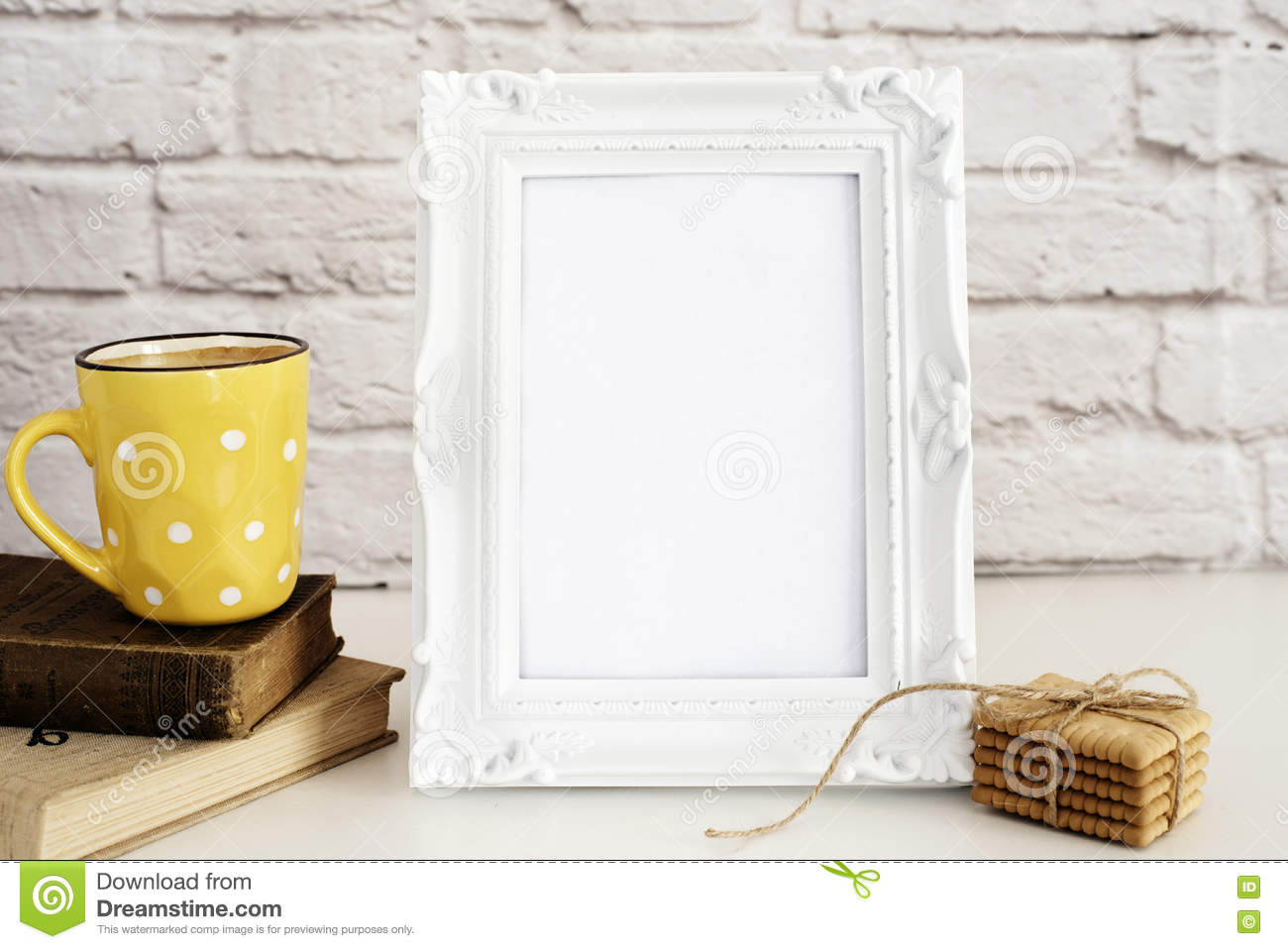 Frame Mockup. White Frame Mock Up. Yellow Cup Of Coffee With White Dots, Cappuccino, Latte, Old Books, Cookies. Display Mock-Up