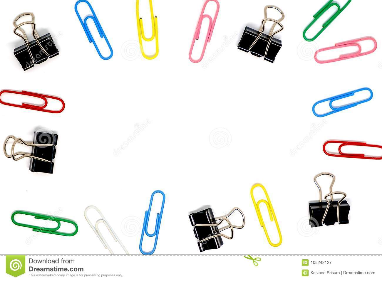 Frame Of Multicolour Of Paperclips And Binder Clips On White ...