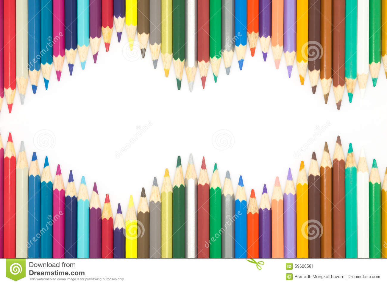 Frame Of Multiple Colours Wooden Pencils On White Background Stock ...